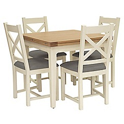 Willis & Gambier - Oak top 'Newquay' flip-top dining table and 4 cross back dining chairs with grey seats