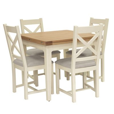 Willis Gambier Oak Top Newquay Flip Dining Table And 4 Cross Back Chairs With Light Grey Seats