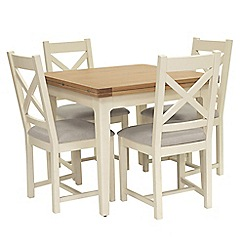 Willis & Gambier - Oak top 'Newquay' flip-top dining table and 4 cross back dining chairs with light grey seats
