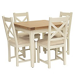 Willis & Gambier - Oak top 'Newquay' flip-top dining table and 4 cross back dining chairs with beige seats