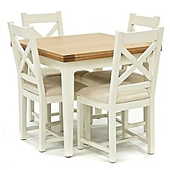Willis & Gambier - Oak top 'Newquay' flip-top dining table and 4 cross back dining chairs with cream seats