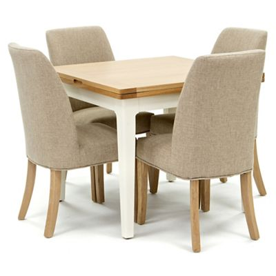 Willis Gambier Oak Top Newquay Flip Dining Table And 4 Beige Percy Chairs