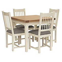 Willis & Gambier - Oak top 'Newquay' flip-top dining table and 4 spindle back dining chairs with grey seats