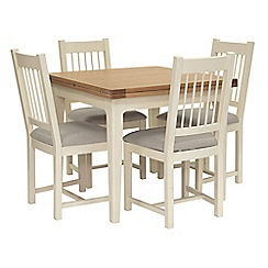 Willis & Gambier - Oak top 'Newquay' flip-top dining table and 4 spindle back dining chairs with light grey seats