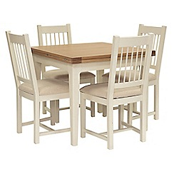 Willis & Gambier - Oak top 'Newquay' flip-top dining table and 4 spindle back dining chairs with beige seats