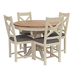 Willis & Gambier - Oak top 'Newquay' round extending dining table and 4 cross back dining chairs with grey seats