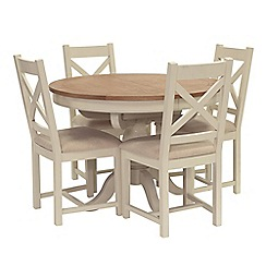 Willis & Gambier - Oak top 'Newquay' round extending dining table and 4 cross back dining chairs with beige seats