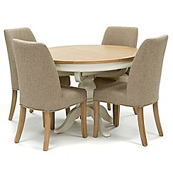 Willis & Gambier - Oak top 'Newquay' round extending dining table and 4 beige percy dining chairs