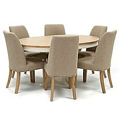 Willis & Gambier - Oak top 'Newquay' round extending dining table and 6 beige percy dining chairs