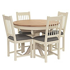 Willis & Gambier - Oak top 'Newquay' round extending dining table and 4 spindle back dining chairs with grey seats