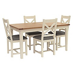 Willis & Gambier - Oak top 'Newquay' small extending dining table and 4 cross back dining chairs with grey seats