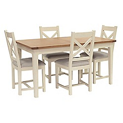 Willis & Gambier - Oak top 'Newquay' small extending dining table and 4 cross back dining chairs with light grey seats