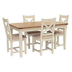 Willis & Gambier - Oak top 'Newquay' small extending dining table and 4 cross back dining chairs with beige seats