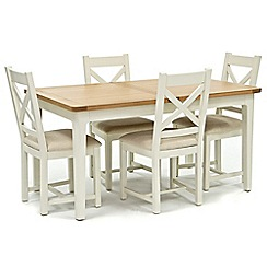 Willis & Gambier - Oak top 'Newquay' small extending dining table and 4 cross back dining chairs with cream seats