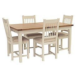 Willis & Gambier - Oak top 'Newquay' small extending dining table and 4 spindle back dining chairs with beige seats
