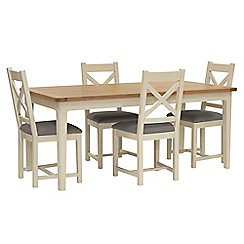 Willis & Gambier - Oak top 'Newquay' large extending dining table and 4 cross back dining chairs with grey seats