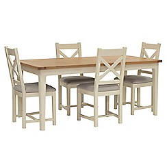 Willis & Gambier - Oak top 'Newquay' large extending dining table and 4 cross back dining chairs with light grey seats