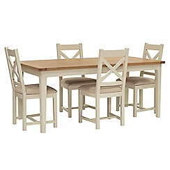 Willis & Gambier - Oak top 'Newquay' large extending dining table and 4 cross back dining chairs with beige seats