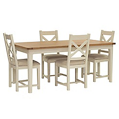 Willis & Gambier - Oak top 'Newquay' large extending dining table and 4 cross back dining chairs with cream seats