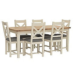 Willis & Gambier - Oak top 'Newquay' large extending dining table and 6 cross back dining chairs with grey seats