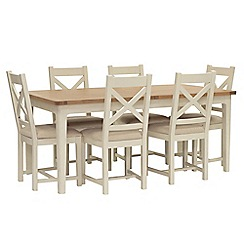 Willis & Gambier - Oak top 'Newquay' large extending dining table and 6 cross back dining chairs with beige seats