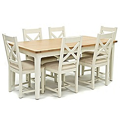 Willis & Gambier - Oak top 'Newquay' large extending dining table and 6 cross back dining chairs with cream seats