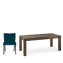Debenhams - Dark oak 'Turin' large extending table and 4 teal low back chairs
