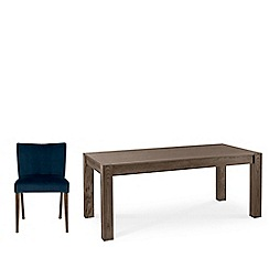 Debenhams - Dark oak 'Turin' large extending table and 4 blue low back chairs