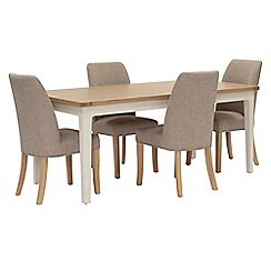 Willis & Gambier - Oak top 'Newquay' large extending dining table and 4 beige percy dining chairs
