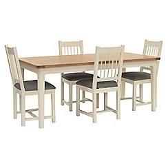 Willis & Gambier - Oak top 'Newquay' large extending dining table and 4 spindle back dining chairs with grey seats