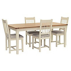 Willis & Gambier - Oak top 'Newquay' large extending dining table and 4 spindle back dining chairs with light grey seat