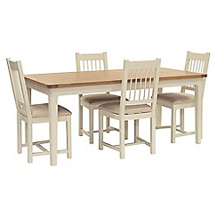 Willis & Gambier - Oak top 'Newquay' large extending dining table and 4 spindle back dining chairs with beige seats