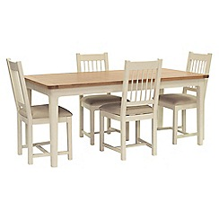 Willis & Gambier - Oak top 'Newquay' large extending dining table and 4 spindle back dining chairs with cream seats