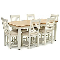 Willis & Gambier - Oak top 'Newquay' large extending dining table and 6 spindle back dining chairs with beige seats