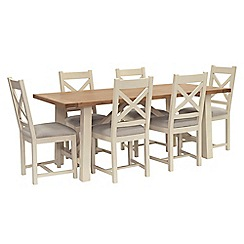 Willis & Gambier - Oak top 'Newquay' trestle dining table and 6 cross back dining chairs with light grey seats