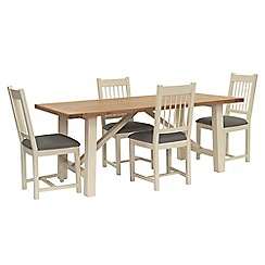 Willis & Gambier - Oak top 'Newquay' trestle dining table and 4 spindle back dining chairs with grey seats