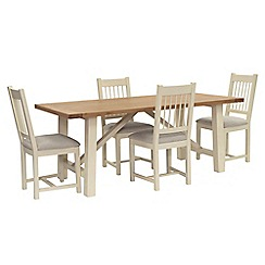 Willis & Gambier - Oak top 'Newquay' trestle dining table and 4 spindle back dining chairs with light grey seats