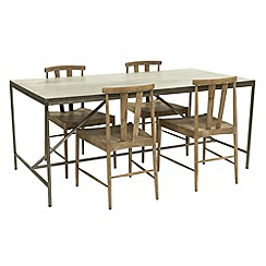 Willis & Gambier - Faro' large concrete effect dining table with 4 dining chairs