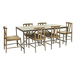 Willis & Gambier - Faro' large concrete effect dining table with 6 dining chairs