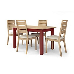 Corndell - Dark red 'Marlow' dining table and 4 chairs set