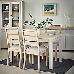 Corndell - Cream painted oak 'Marlow' dining table and 4 white washed chairs