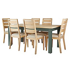 Corndell - Dark green 'Marlow' dining table and 6 chairs set