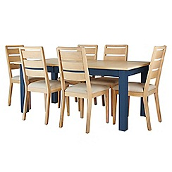 Corndell - Dark blue 'Marlow' dining table and 6 chairs set