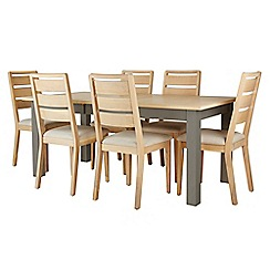 Corndell - Light grey 'Marlow' dining table and 6 chairs set