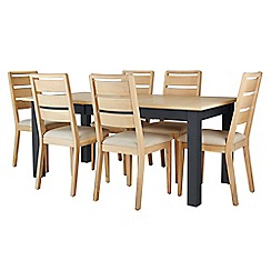 Corndell - Dark grey 'Marlow' dining table and 6 chairs set