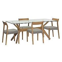 Willis & Gambier - 'Willow' glass top table with 4 'Efni' light grey chairs