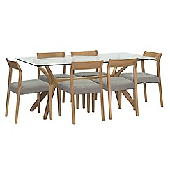 Willis & Gambier - 'Willow' glass top table with 6 'Efni' light grey chairs