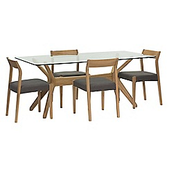 Willis & Gambier - 'Willow' glass top table with 4 'Efni' dark grey chairs