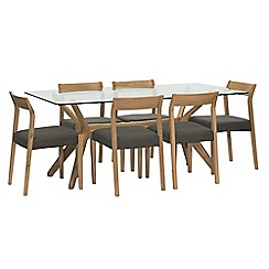 Willis & Gambier - 'Willow' glass top table with 6 'Efni' dark grey chairs