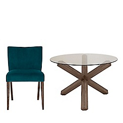 Debenhams - Dark Dark oak and glass 'Turin' round table and 4 teal low back chairs